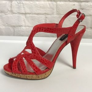 WHBM Red Snakeskin Strappy High Heel Shoes